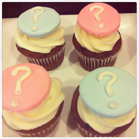 Gender Reveal Cupcakes Dark chocolate cake, buttercream filling, cream cheese icing & MMF toppers. It was a girl :)