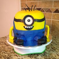 My First Try At A Minion Cake   My first try at a Minion Cake