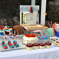 Spiderman Themed Birthday Cake And Desert Table It was great fun creating a spider man themed desert table for my son's 5th birthday