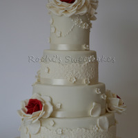 Ivory And Red Wedding Cake