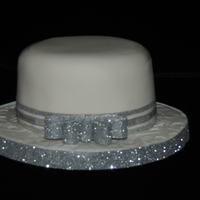 Fondant Cake With Silver Ribbon Fondant Cake with Silver Ribbon