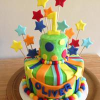 Bright First Birthday Cake Bright first birthday cake