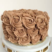 4-Layer Guittard Gourmet Chocolate Cake With Hand Piped Rosettes.