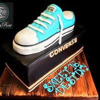 Converse Shoe Box Cake Sweet 16 Converse Shoe Cake. The shoe is made out of RKT and covered with white chocolate ganache and white modeling chocolate I tinted sky...