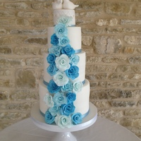 Aqua Blue Roses This cake was made for a Cotswolds wedding in April. After a consultation last year bride and groom decided to have a pair of doves as a...