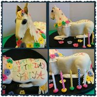 3D Horse Cake Hallo,Made for my daughters bday. Its Chocolate mud cake with chocolate ganache, covered in white modelling chocolate.Hope you like it....