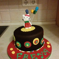 Hello Kitty Cake This is chocolate cake with ganache.chocolate fondant n fondant decorations.