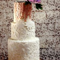 Lace Applique And Floral Wedding Cake I love the combination of lace and florals, but always try to avoid using ready- to -use lace cause I don't like repetitive works. I&...