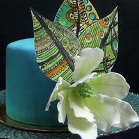 "Tifany Zentangle Cake I chose ""cold"" colors and just a few dashes of hot hue to create a ""zen"" look for the cake...."
