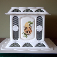 Autumn Hunt. Royal Icing Panelled Cake With Flanges And Painted Medallions