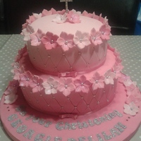 Floral & Quilted Christening Cake