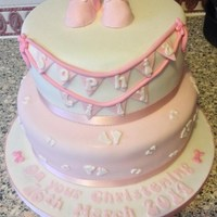 Pink & White Bunting Christening Cake (With My First Ever Fondant Booties!)