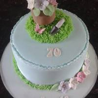 Gardening Theme Cake For A Ladies 70Th Birthday Gardening theme cake for a ladies 70th birthday