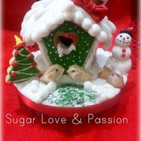 Christmas Birdhouse *A very sweet little house made ​​with biscuits, royal icing and sugar paste ... Why is love there is in all seasons! A...