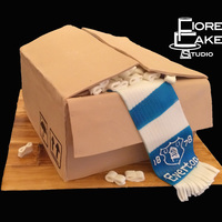 Everton Moving Box Going away party cake for an Everton Football Club fan.