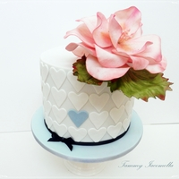 "Small 6 Chocolate Cake With A Large Gumpaste Flower Small 6 "" chocolate cake with a large gumpaste flower"