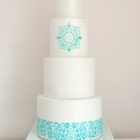 Turquoise And White Pearlised Wedding Cake turquoise and white pearlised wedding cake