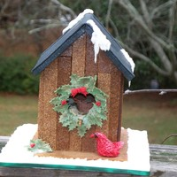 Gingerbread Birdhouse Inspiration Challenge Rustic red cardinal birdhouse.