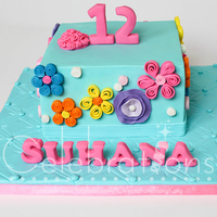 Girly Cake For A Tween We used quilling technique to make this cake for a tween who loves girly stuff.