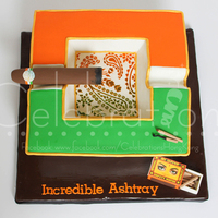 Indian Inspired Cigar Ashtray Cake  This cigar ashtray cake was requested by a friend of a cigar smoker who always wears indian design print shirts. We came up with the idea...