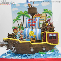 Jake And The Neverland Pirate Ship   We made this pirate ship cake with a customised backdrop for a boy who loves Jake and the Neverland pirates. Hope you enjoy it. Thank you