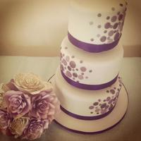 Polka Splash Wedding Cake   Polka dot spotty modern wedding cake in grey and purple shades (including metallic), with separators.