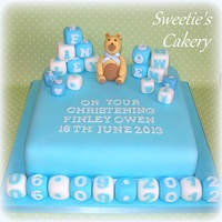 "10 Square Moist Fruit Cake With Gumpaste Teddy And Blocks   10"" square moist fruit cake with gumpaste teddy and blocks."