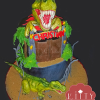 Trex Birthday Cake With Fondant Trex Toppers Trex birthday cake with fondant trex toppers