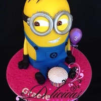 Cheeky Minion Cake! My very first Minion! Everything hand made and edible, had so much fun creating this little fella, the photo doesn't do him justice!