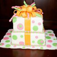 Gift Box Cake Cake is covered with fondant, dots and balls are fondant, bow is gumpaste