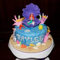 Little Mermaid Birthday Cake   Plastic figurines, fondant and royal icing.
