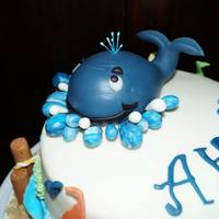 Ahoy, It's A Boy Baby Shower Cake Coral is royal icing, covered in fondant, all other decorations are gumpaste