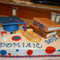 Graduation Cake Buttercream frosting, cap is RCT covered with fondant, everything else is fondant.