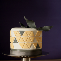 Lemon Flavoured 6 Inch Cake With Geometric Pattern Lemon flavoured 6 inch cake with geometric pattern.