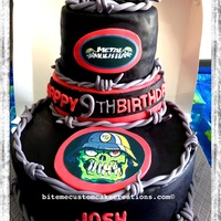 Three Tier Metal Mulisha Cake Bottom Tier A Big 14 Chocolate Cake With Cream Cheese Ganache Filling Top Tiers Are Vanilla Cake With Straw  Three tier Metal Mulisha Cake, bottom tier a big 14' chocolate cake with cream cheese ganache filling, top tiers are vanilla cake with...