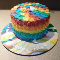 Rainbow Inspiration Rainbow Buttercream CakeThis is a six layered (rainbow coloured) cake with buttercream icing in rainbow hues.