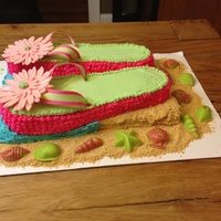 Flip Flop Cake Frosted With Buttercream Flowers Sculpted In Modeling Chocolate Sea Shells Made With Candy Melts Sand Graham Cracker Crumb Flip flop cake frosted with buttercream. Flowers sculpted in modeling chocolate, sea shells made with candy melts, sand graham cracker...
