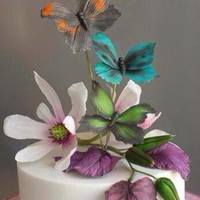 Butterfly And Magnolia Birthday *gumpaste butterfly's, magnolias, begonia leaves and magnolias