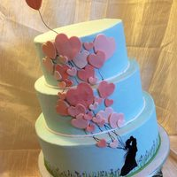 Balloon Silhouette Romantic Cake I made this for a bridal show, but would also be great for Valentine's Day, engagement party, etc. All base iced in buttercream....