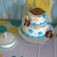Mod Monkey Themed First Birthday Cake *Mod Monkey themed first birthday cake