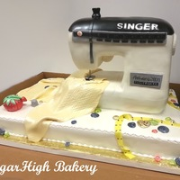 Sewing Machine Cake Front - Cake for a 75th Birthday
