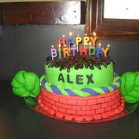 The Incredible Hulk *This is an Incredible Hulk themed cake that we made for our youngest son's 4th birthday. We also colored the cake batter purple and...