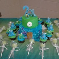 Monster's Inc Themed Cake, Cupcakes, And Cake Pops This is a Monster's Inc. themed Birthday that we did for a customer's son's 2nd Birthday. Its a two tier cake. The Bottom is...