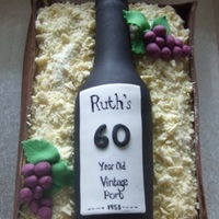 Port Bottle In A Crate Cake For A 60Th Birthday All Edible With Gumpaste Moulded Bottle And White Chocolate Sawdust   Port bottle in a crate cake for a 60th birthday - all edible, with gumpaste moulded bottle and white chocolate 'sawdust'