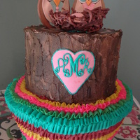 Two Tier Tree Stump Cake With Ruffled Base Cake Covering Is Buttercream Owls Egg In Nest And Heart Are Gumpaste Nest Is Chocolate Cover Two tier, tree stump cake with ruffled base. Cake covering is buttercream. Owls, egg in nest and heart are gumpaste. Nest is chocolate...