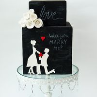 Proposal Love Chalkboard cake with wafer rolled roses