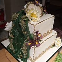 This Is My First Marsipan And Royalicing Decorated Cake I Rely Love The Middle East Wedding Cake Look Whit Al The Gold Draping And Flowe This is my first marsipan and royalicing decorated cake :) I rely love the middle east wedding cake look whit al the gold, draping and...
