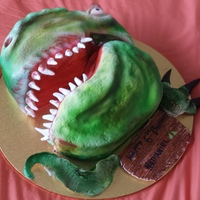 Made This T Rex Dinosaur Head Cake For A Birthday Made this T Rex Dinosaur head Cake for a Birthday