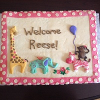 This Is A Baby Shower Cake Based Off The Invitations They Usedfondant Animals With A Fondant Background And Border This is a baby shower cake based off the invitations they used...fondant animals with a fondant background and border