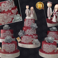 Henna-Inspired Wedding Cake Henna-inspired Wedding Cake by Faj House of Cakes. These cakes were covered in maroon fondant and the henna designs are piped in gray royal...